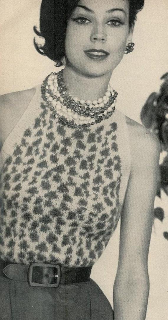 Free Vintage Vogue Knitting Patterns : Vogue Knitting 1960 Leopard Print Halter by vintagemadamedefarge