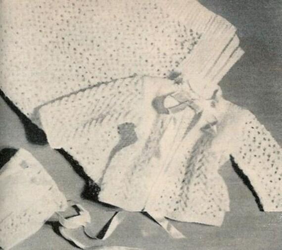 Vogue Knitting 1960 3 Piece Lacy Layette - Blanket, Saque & Bonnet Vintage Knitting Pattern