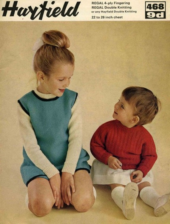 Hayfield 468 Vintage Knitting Pattern Girls Pinafore Dress, Sweater and Jumper