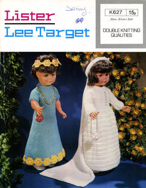Lister Lee Target K627 Vintage Knitting Patterns for 18in Doll - Bride and Bridesmaid Wedding Gown