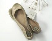 Dull Gold Snake Print Leather Handmade Ballerinas