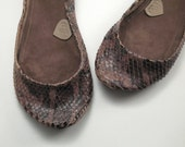 Very LAST PAIR -- Brown Snake Leather Handmade Ballet Flats