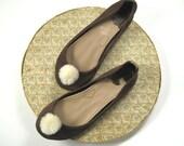 Chocolate Brown Leather PonPon Ballerinas