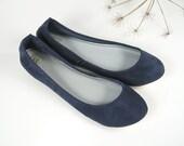 Deep Blue Suede Cute Handmade Ballet Flats