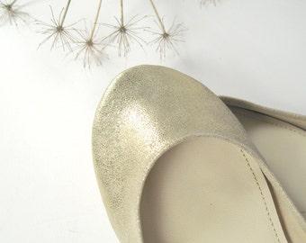 Soft Gold Handmade Ballet Flats