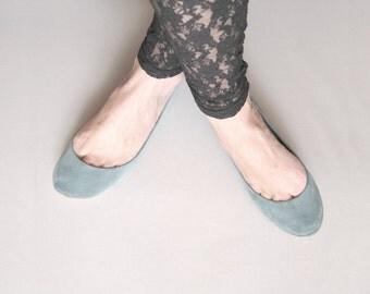 Dusty Cold Gray Handmade Ballet Flats