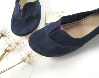 Navy Blue Soft Suede Handmade Oxfords Shoes