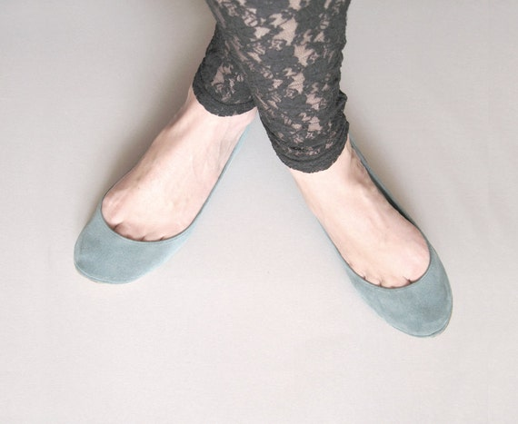 Dusty Cold Gray Handmade Ballet Flats