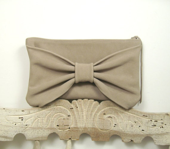Stone Gray Washed Leather Bow Purse