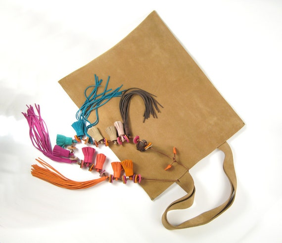 Sabbia Suede Shopper with Stunning Colored Tassel Ornaments and Fringes