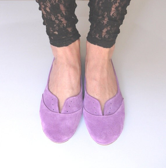 Radiant Orchid Suede Handmade Oxford Shoes