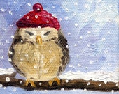 Owl and the red winter hat