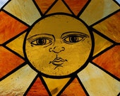 Painted and Fired Sun Stained Glass Sun Panel