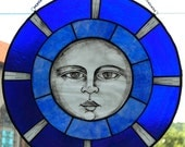 Stained Glass Hand Painted Moon Panel - ON SALE