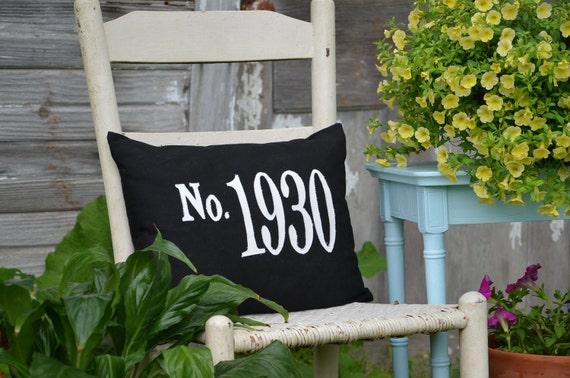 House Number Pillow Address Pillow Sunbrella Fabric