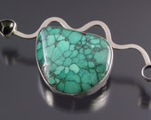Handmade Sterling Silver, Turquoise and Tourmaline Brooch
