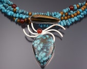 Handmade Sterling Silver, Turquoise, Tiger's Eye and Carnelian Necklace