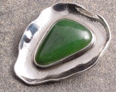 Handmade Sterling Silver and Jade Pendant