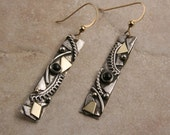 Sterling Silver, Gold and Black Onyx Earrings