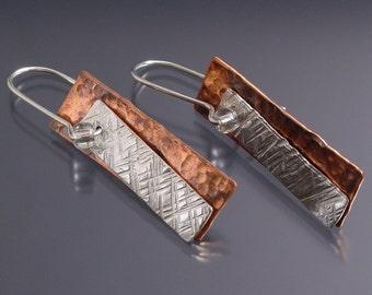 Handmade Copper and Sterling Silver Banner Earrings