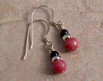 Handmade Sterling Silver Rhodonite and Onyx Earrings