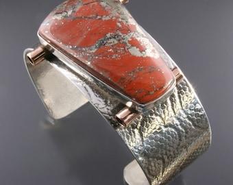 Handmade Sterling Silver, Copper and Starry Jasper Cuff Bracelet
