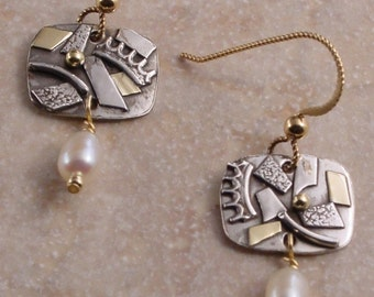 Sterling Silver, Gold and Freshwater Pearl Earrings