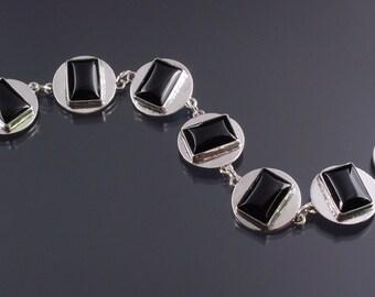 Black Onyx and Sterling Silver Link Bracelet