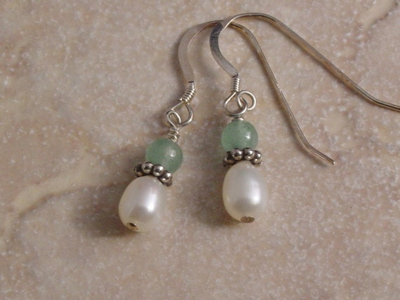 Handmade Sterling Silver Freshwater Pearl and Aventurine Earrings