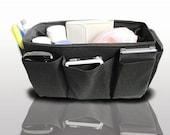Handmade Purse Organizer Insert Handbag Bag Organizer insert / Solid Black / Medium