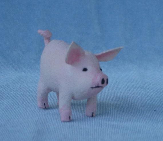 Pink Pig Soft Sculpture Miniature by Marie W. Evans
