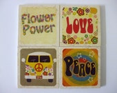 Peace Love and Flower Power Theme on Natural Stone Tile  Coasters Set of 4