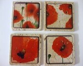 Bright Red Poppy Flowers on Natural Stone Tile Coasters Set of 4