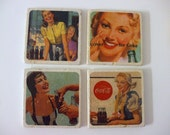 Girls of Coke Vintage Advertisements on Natural Stone Tile Coasters Set of 4