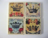 Crown and RosesThemed Coasters on Natural Stone Tiles Set of 4