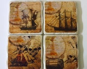 Pirate Theme Coasters Set of 4