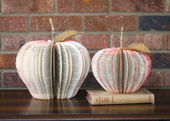 Reserved for Amy set of two BOOK APPLES teacher gifts