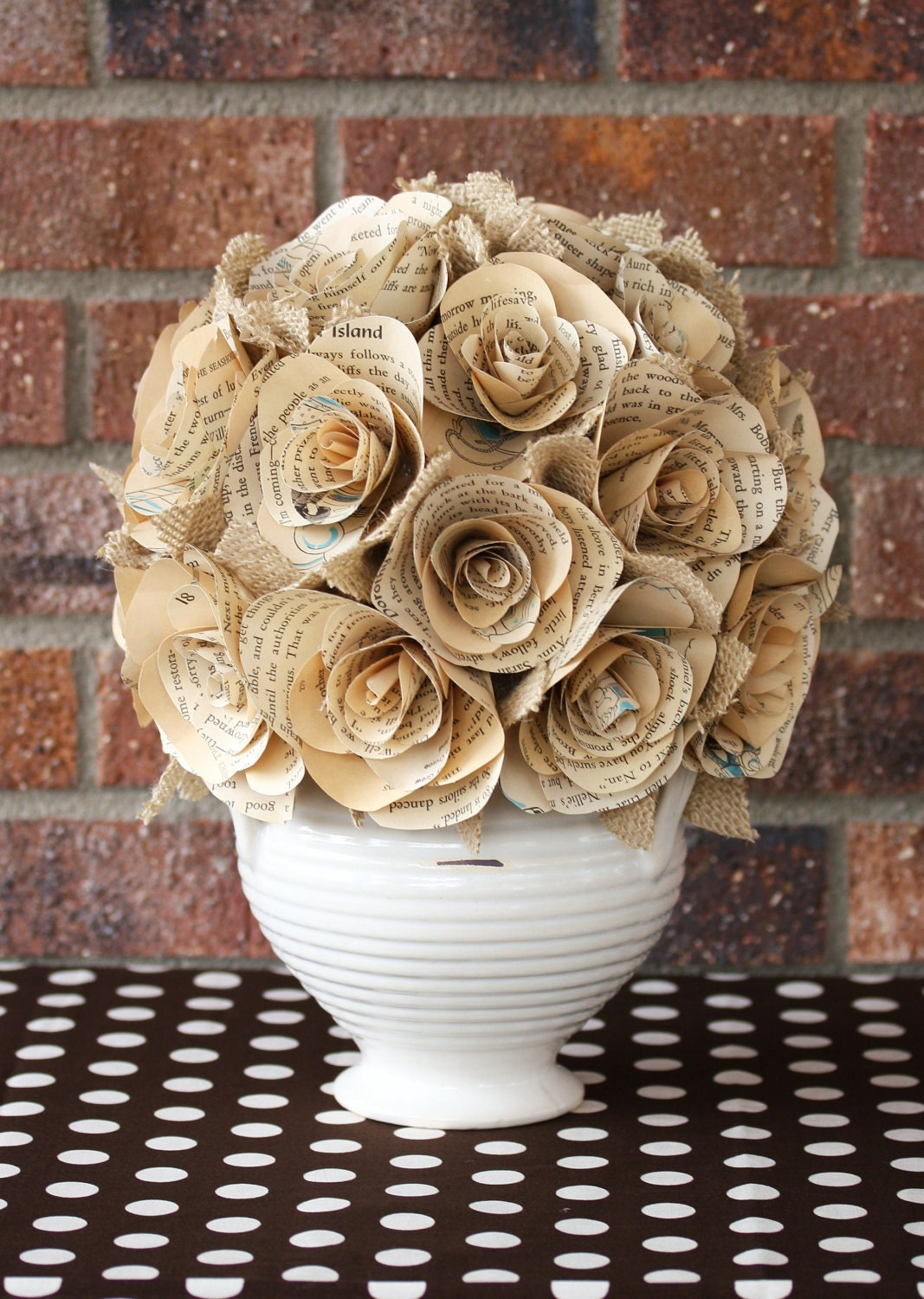 Vintage book paper roses centerpiece as pretty a rose