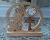 Praying Hands Cross Desk Clock