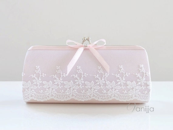 Small Julian Clutch in Pale Pink. Perfect for the Bride, Bridesmaid or any event -- READY TO SHIP