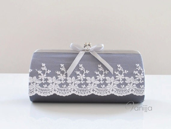 Small Julian Clutch in Dark Gray. Perfect for the Bride, Bridesmaid or any event