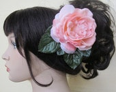 Pink Flamenco open Rose hair flower clip