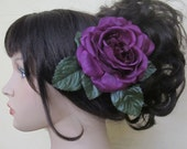 Purple Flamenco open Rose hair flower clip