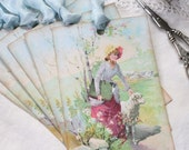 Gift Tags Vintage Style Young Lady Artist with Sheep