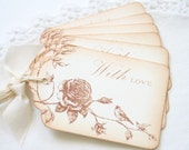 Gift Tags Vintage Bird and Rose With Love Sepia and Cream All Occasion