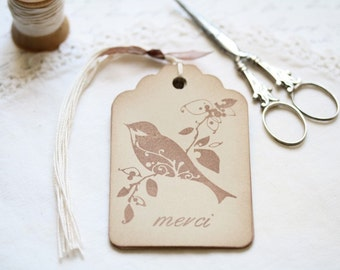 Bird Gift Tags Vintage Style Merci French Bird Gift Tags