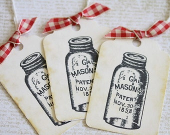 Mason Jar Gift Tags Vintage Style Gift Tags Red Gingham Ribbon Food Gifts Canning Weddings