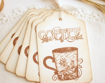 Coffee Cup Gift Tags Shabby Cottage Vintage Style