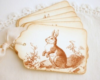Rabbit Gift Tags Vintage Sepia Brown Toile Bunny Toile Gift Tags