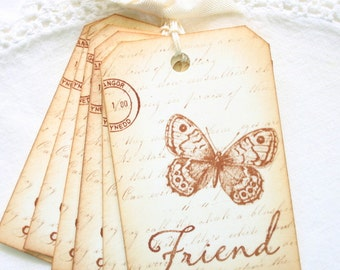 Butterfly Gift Tags Vintage Friend on Script Sepia and Cream Bridesmaid Favors and Gifts